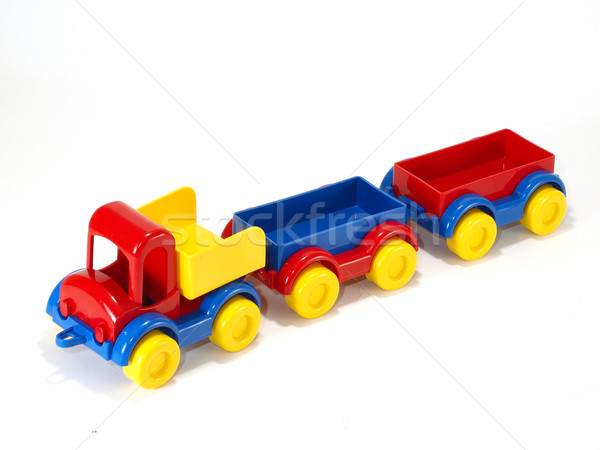 Toy car truck and trailer isolated on white background Stock photo © Pruser