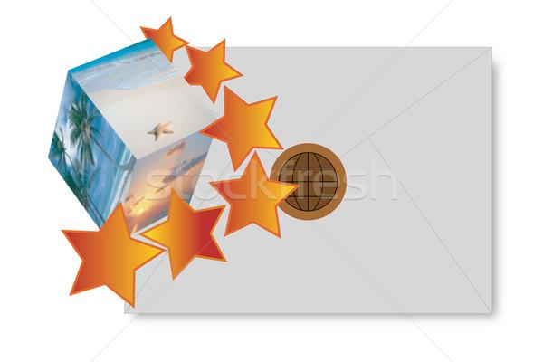 Ilustración dotación paisaje estrellas blanco azul Foto stock © Pruser