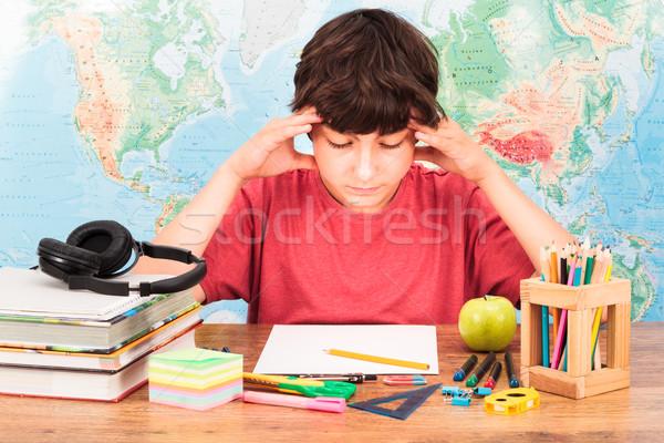 Pensando lição de casa papel livro lápis Foto stock © przemekklos