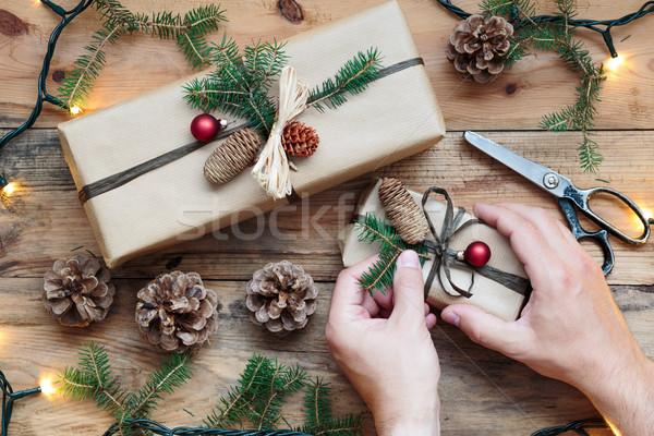 Natal presentes dom apresentar férias tesoura Foto stock © przemekklos