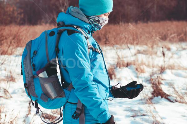 Menino telefone móvel inverno trio cara telefone Foto stock © przemekklos