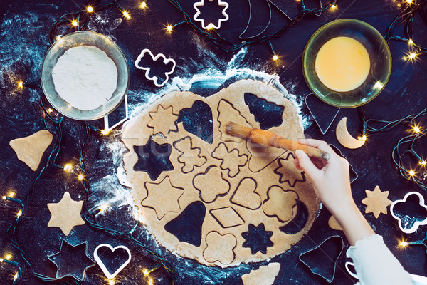 Meisje christmas cookies hand licht Stockfoto © przemekklos