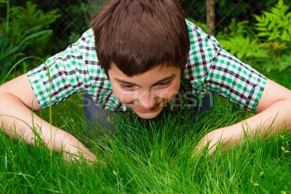 Menino olhando vida grama floresta verão Foto stock © przemekklos