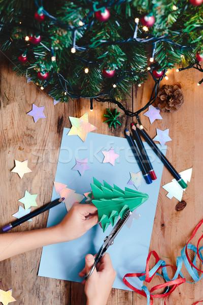 Kız noel ağacı dekorasyon kâğıt kalem Stok fotoğraf © przemekklos