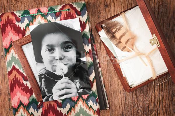 Me Maakt een reservekopie herinneringen verborgen brieven Stockfoto © przemekklos