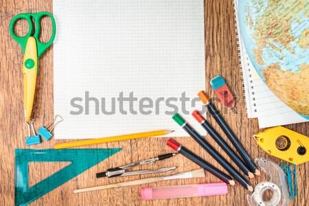 School accessories on a desk Stock photo © przemekklos