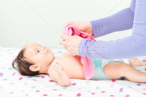 Mamma medicazione piccolo baby copia spazio Foto d'archivio © przemekklos