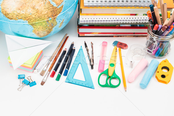 School accessories on a white background Stock photo © przemekklos