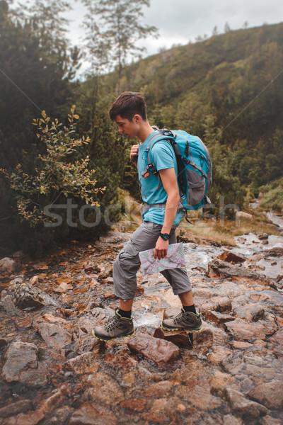 Ragazzo montagna stream montagna giovani adolescente Foto d'archivio © przemekklos