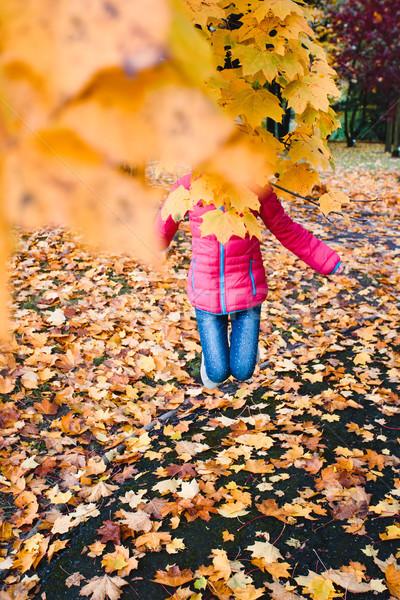 Foto stock: Menina · saltando · atrás · amarelo · parque