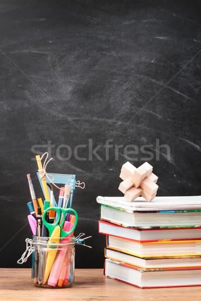 Escolas área de trabalho lousa livro globo Foto stock © przemekklos