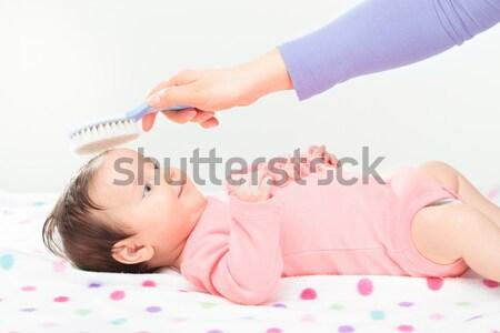 Mamãe curativo pequeno bebê menina cópia espaço Foto stock © przemekklos