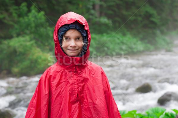 Kislány esőkabát hegy folyam fa gyermek Stock fotó © przemekklos