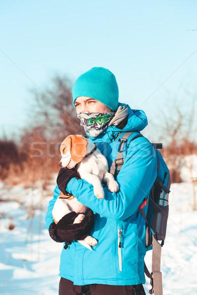 Menino cão inverno trio neve Foto stock © przemekklos