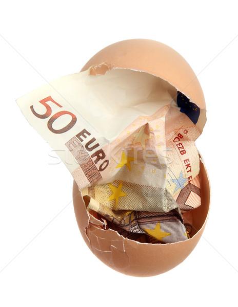 Banka dikkat 50 euro yumurta kabuğu beyaz Stok fotoğraf © pterwort