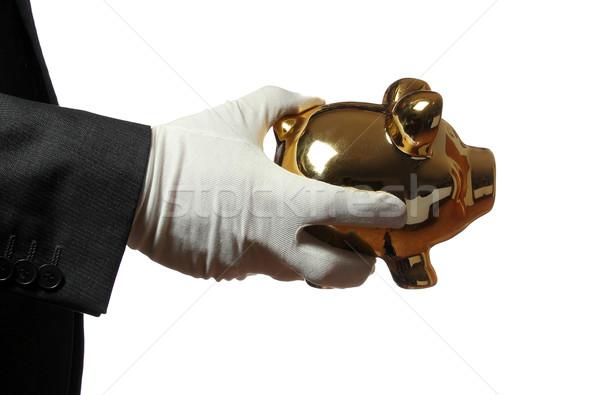 Butler blanche gant or tirelire Photo stock © pterwort