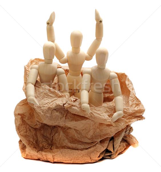 wooden dolls in paper bag Stock photo © pterwort