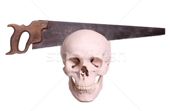 old saw cutting in skull Stock photo © pterwort
