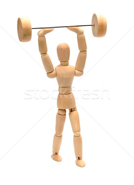 Houten pop gewichtheffen model fitness gymnasium Stockfoto © pterwort