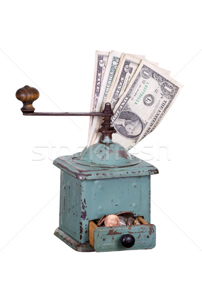 old coffee gringer with dollars Stock photo © pterwort