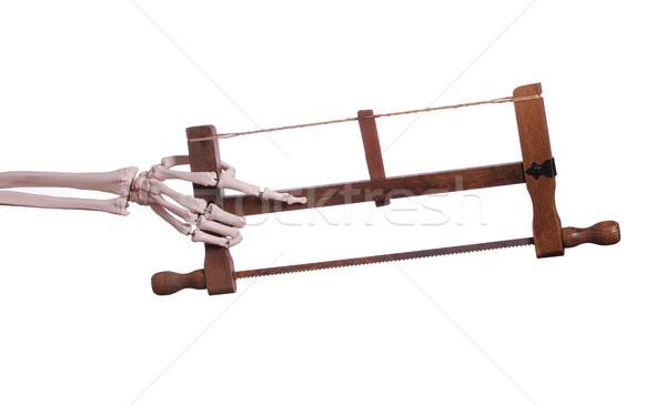 Skelet hand houten zag palm Stockfoto © pterwort