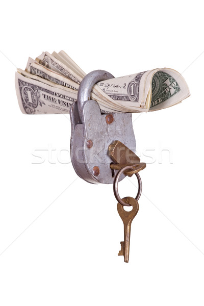 Stock photo: dollars captured with padlock