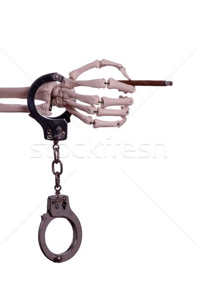Сток-фото: скелет · стороны · сигару · лист
