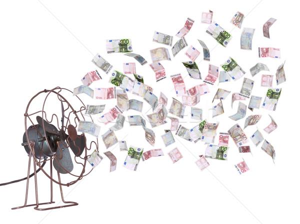 Oude ventilator europese bankbiljetten geld financieren Stockfoto © pterwort