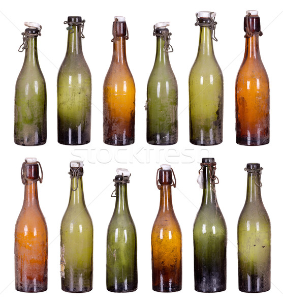 Starych zakurzony butelki butelek projektu tle Zdjęcia stock © pterwort