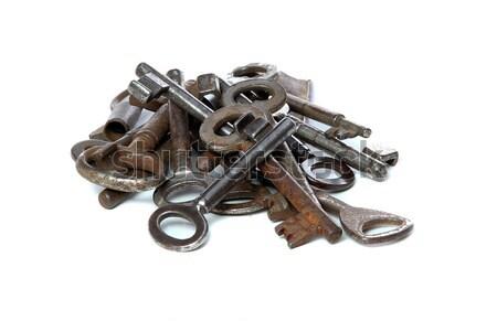 Velho enferrujado teclas branco segurança chave Foto stock © pterwort