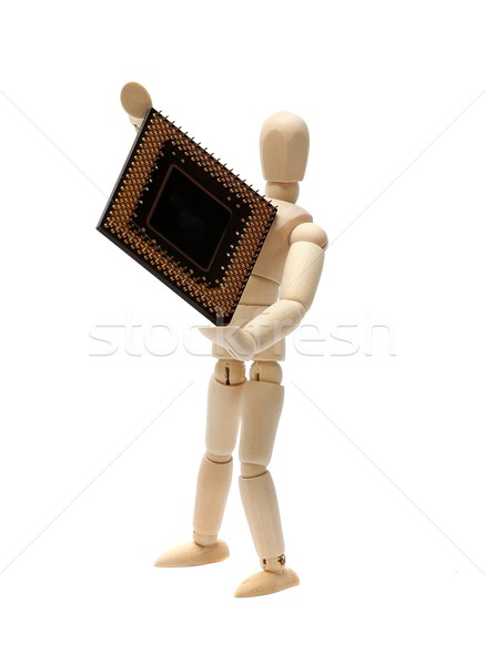 wooden doll with semiconductor Stock photo © pterwort