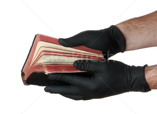 Сток-фото: старые · книги · рук · черные · перчатки · белый · стороны · книга