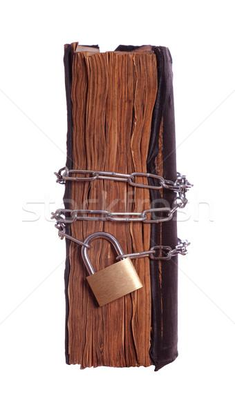 Preghiera libro lucchetto catena abstract chiave Foto d'archivio © pterwort