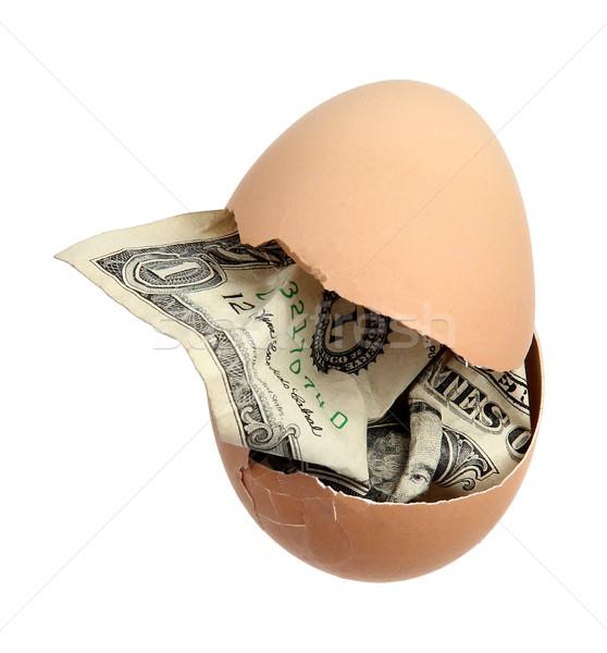 Stockfoto: Bruin · ei · dollar · bankbiljet · witte · bank