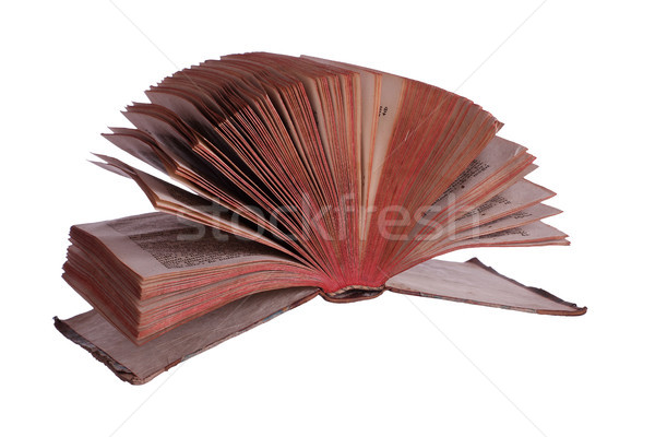 old historic book with fanned pages on white Stock photo © pterwort