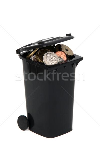 Fekete hulladék tároló európai érmék fehér Stock fotó © pterwort