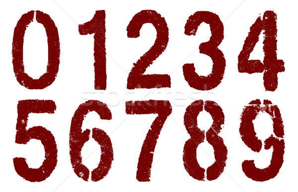 red numbers 0-9 on white Stock photo © pterwort