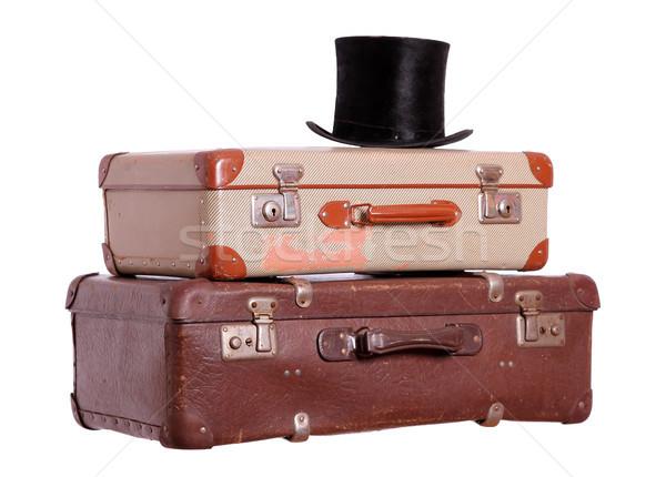 öreg bőröndök fekete kalap háttér pihen Stock fotó © pterwort