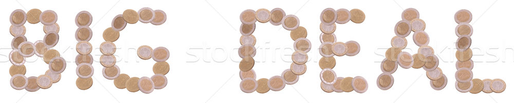 big deal - written with coins on white background Stock photo © pterwort