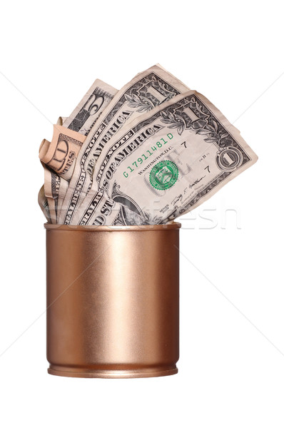 Kinyitott arany konzerv bank jegyzetek üzlet Stock fotó © pterwort