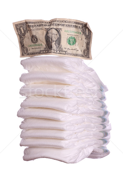 Stock photo: stack of diaper with dollar note