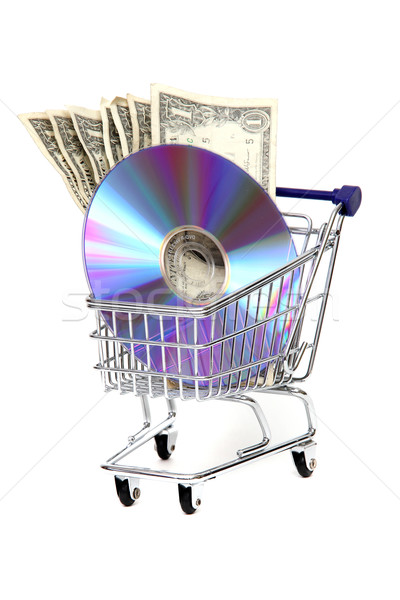 shoppingcart with dollars and DVD Stock photo © pterwort
