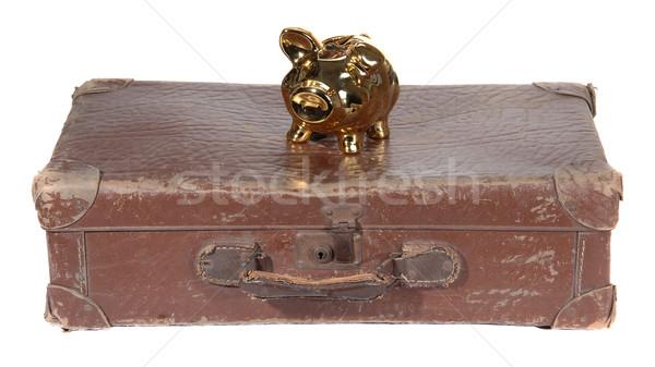 старые коричневый чемодан Piggy Bank белый Сток-фото © pterwort