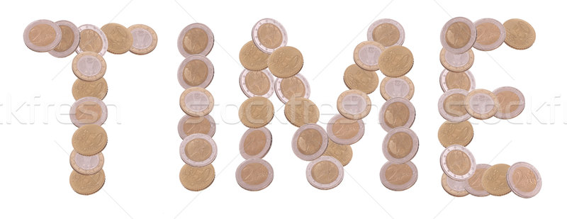 time - written with coins on white background Stock photo © pterwort