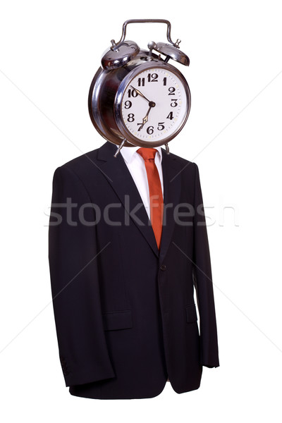 body with suit and tie with alarm bell as face on white Stock photo © pterwort