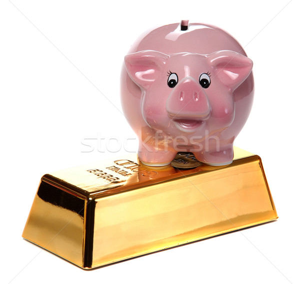 gold bullion with pink piggy bank Stock photo © pterwort