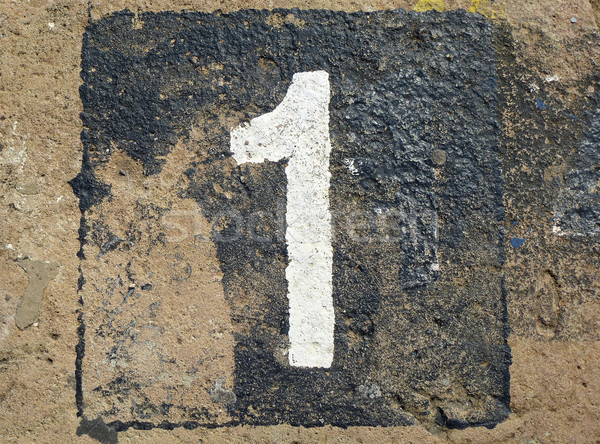 1 - weathered number on old stone Stock photo © pterwort