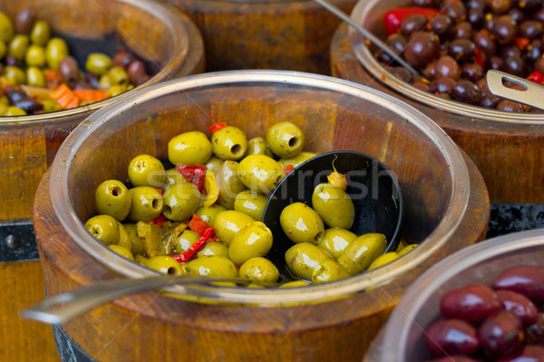 olives in wooden bowls Stock photo © pterwort