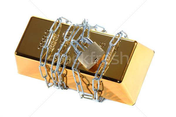 gold bullion protected with chain and padlock Stock photo © pterwort