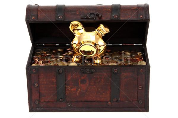 Persely bent kincsesláda pénz fém pénzügy Stock fotó © pterwort
